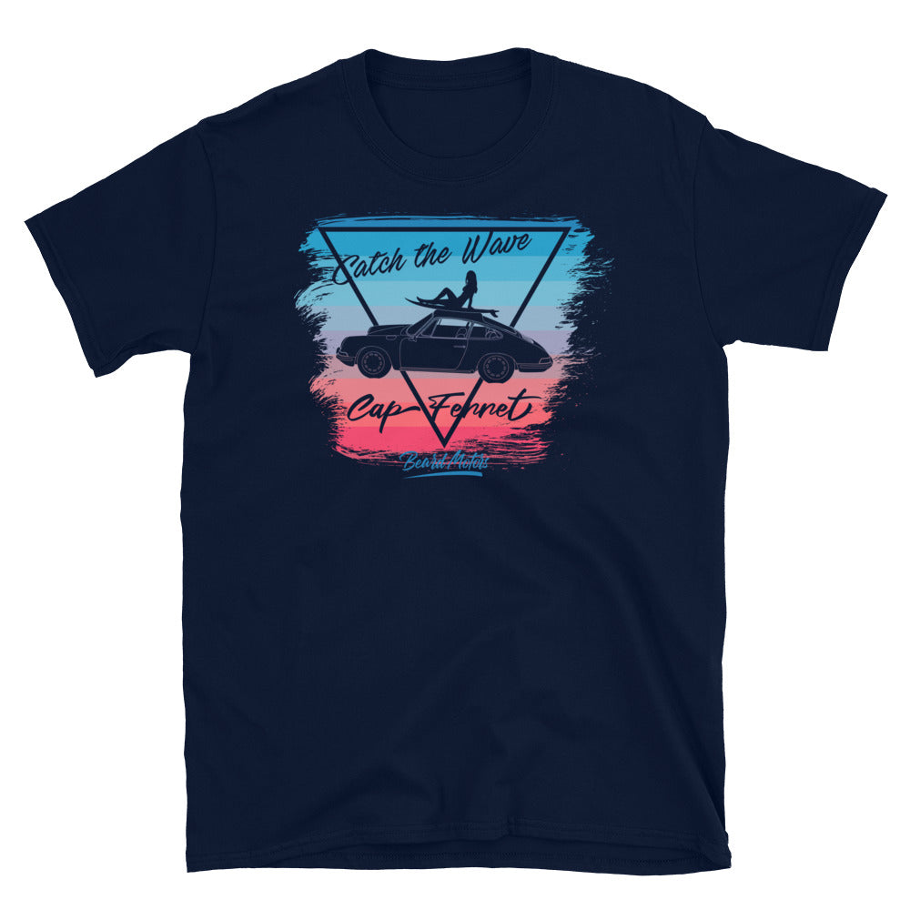 T-Shirt Catch The Wave 912 Surf Blue to Rubystone / Navy - beardmotors