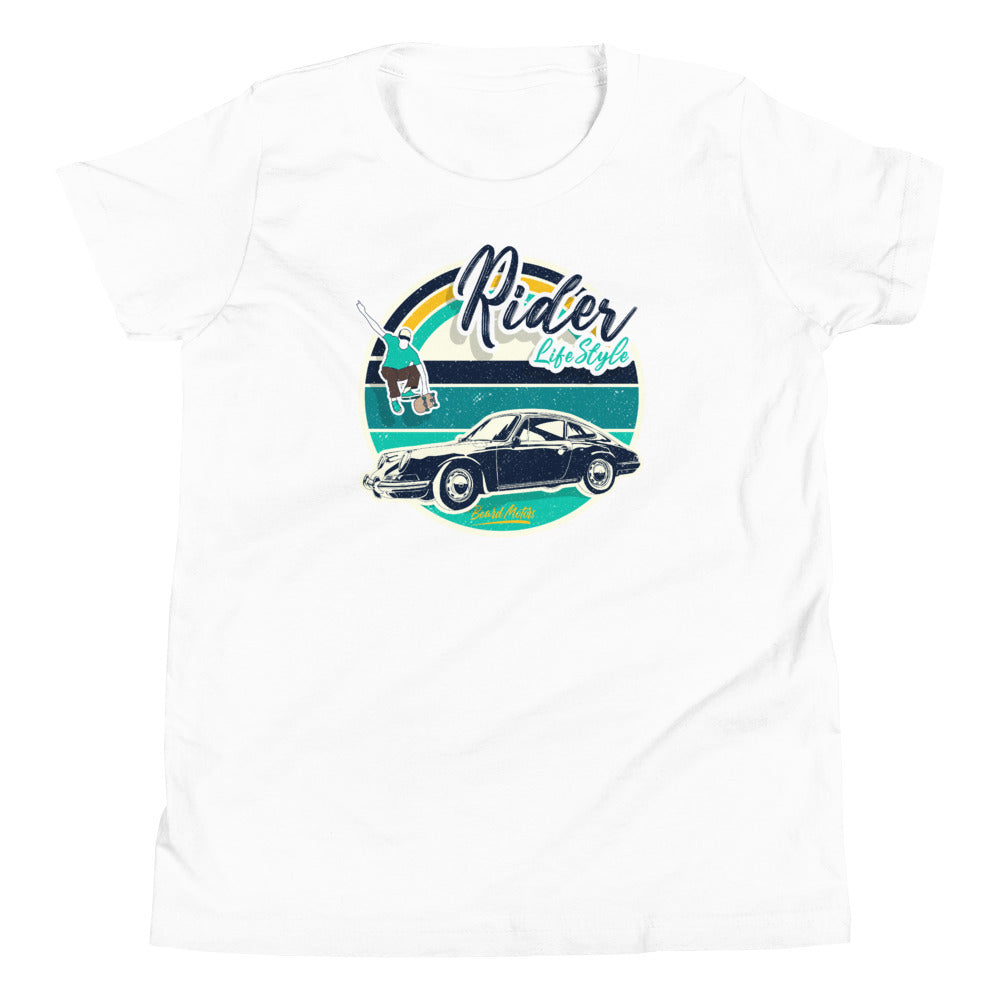 Beard Motors 911 Skateboard Rider Lifestyle Youth Enfant T-Shirt White / Navy or Green - Beard Motors