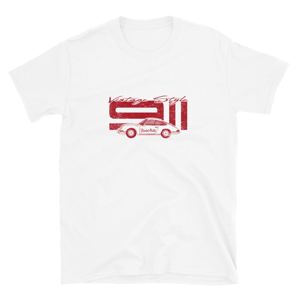 T-Shirt Vintage Style 911 Polo Red / White - Beard Motors