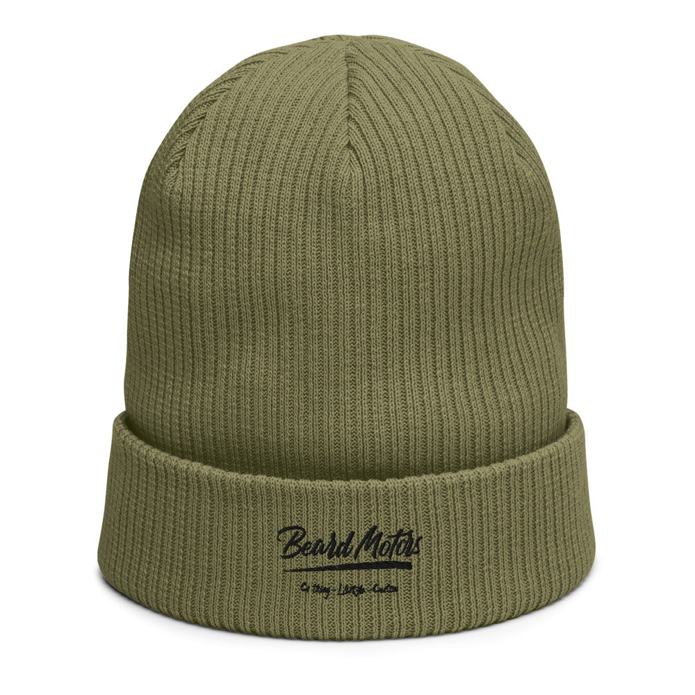 Beard Motors Logo Grunge Bonnet Organic ribbed beanie Olive - beardmotors