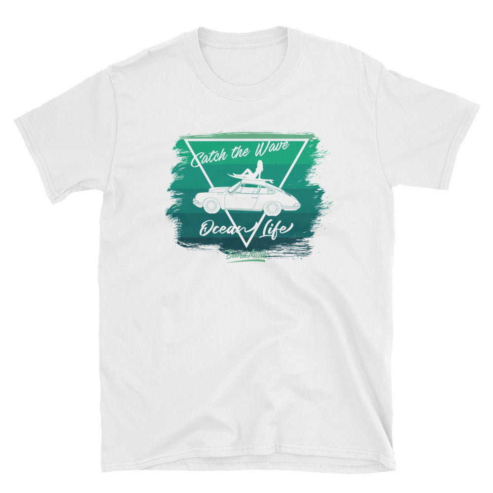 T-Shirt Catch the Wave 911 Surf Shades of Green / White - Beard Motors