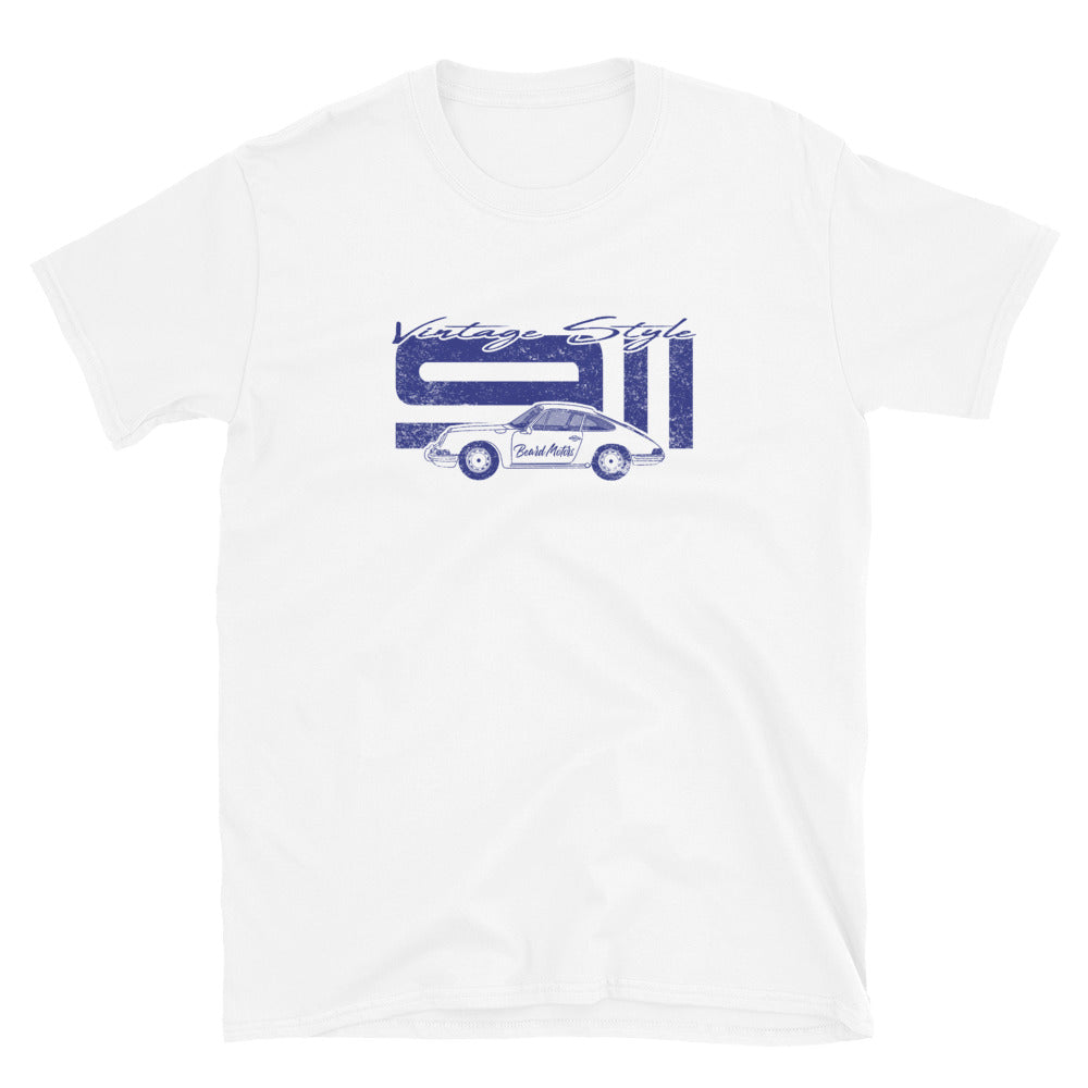 T-Shirt Vintage Style 911 Aga Blue / White - Beard Motors