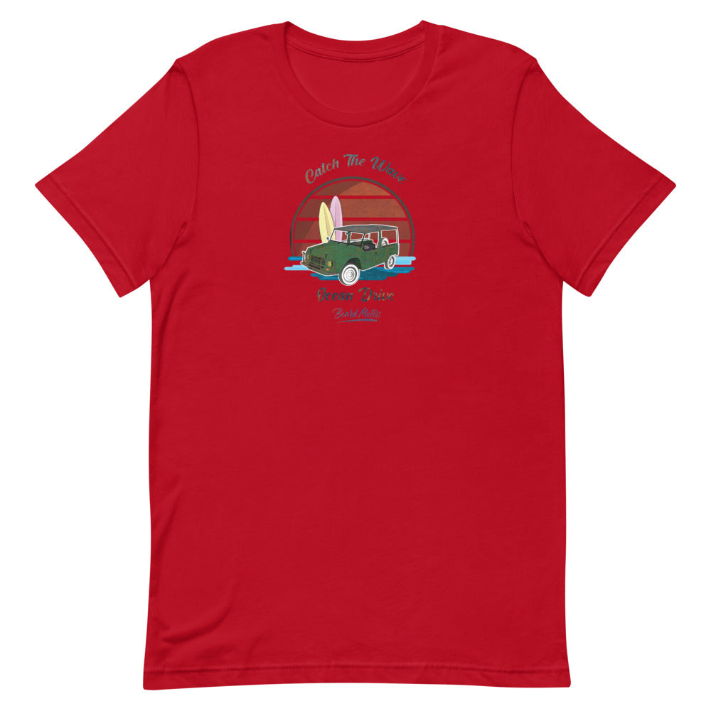 Beard Motors Catch the Wave Mehari Ocean Drive T-Shirt Red - beardmotors