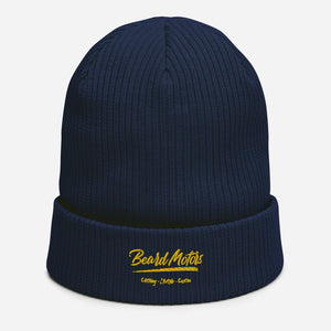 Beard Motors Logo Grunge Bonnet Organic ribbed beanie Navy - Beard Motors