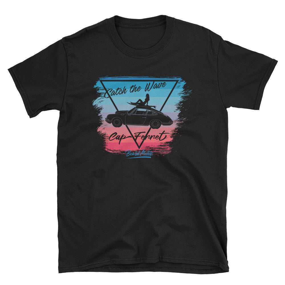 T-Shirt catch the Wave 911 Surf Blue to Rubystone / Black - Beard Motors