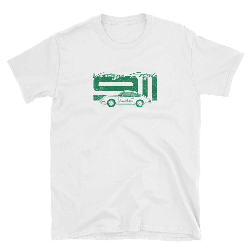 T-Shirt Vintage Style 911 Irish Green / white - beardmotors