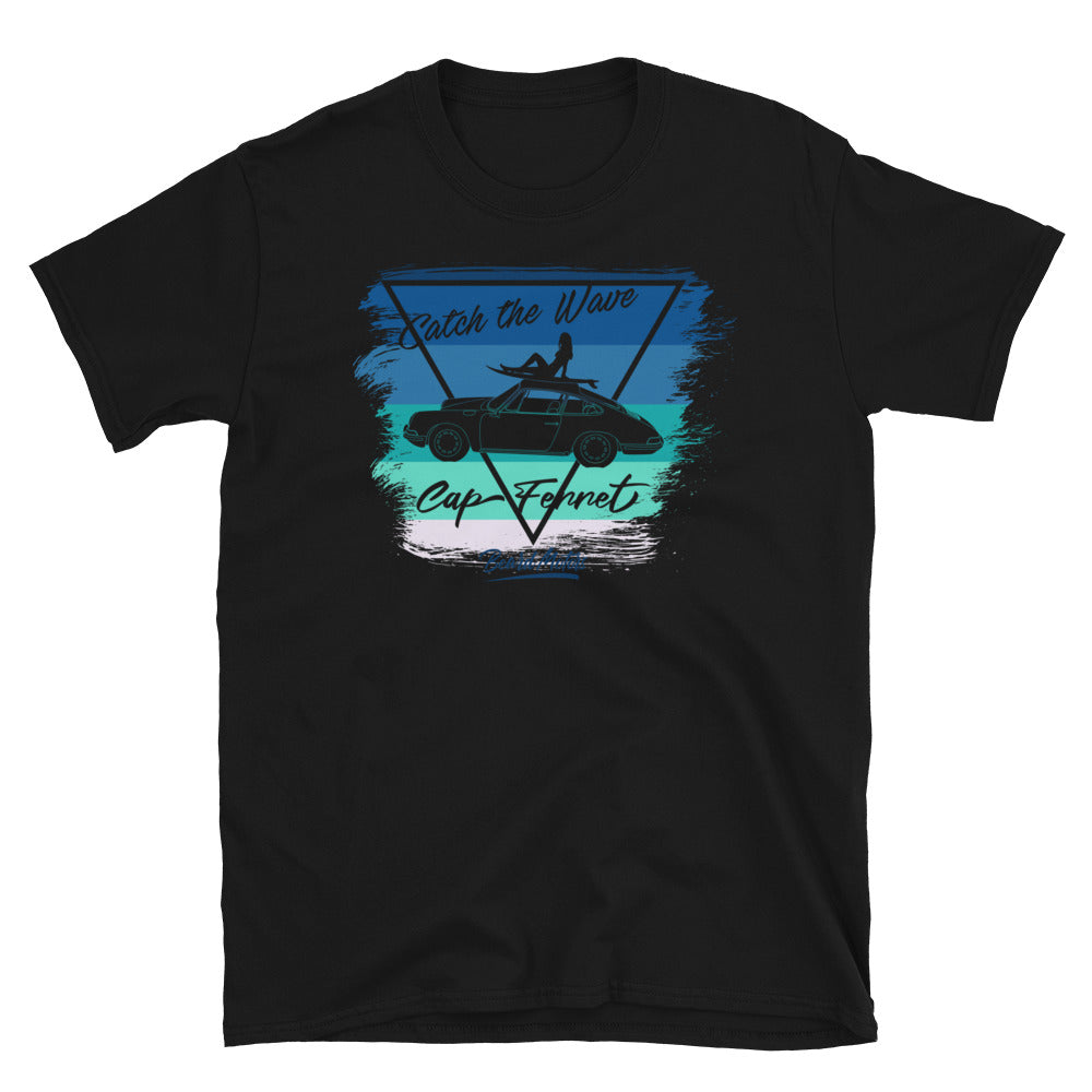 T-Shirt Catch the Wave 911 Surf Blue to Green / Black - beardmotors