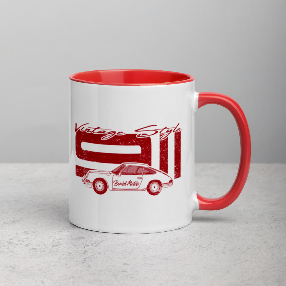 Beard Motors 911 Vintage Style red Mug with Color Inside - Beard Motors