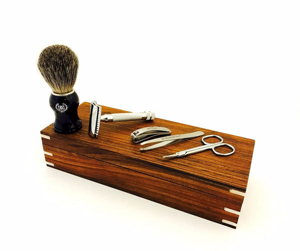 Men's Wet Grooming Shaving Set/Kit- DE Safety Razor, Pure Badger Shaving Brush - Liberty Beauty Supply