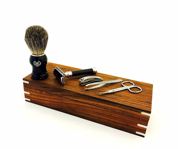 Men's His Grooming Set/Kit DE Safety Razor Pure Badger Shaving Brush, Wooden Box - Liberty Beauty Supply