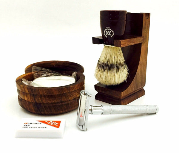 DE SAFETY RAZOR - wood stand, bristle brush,bowl,soap shaving set in gift box - Liberty Beauty Supply