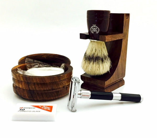 "4"" DE SAFETY RAZOR -  wood stand, bristle brush,bowl,soap shaving set in gift box - Liberty Beauty Supply"