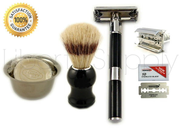 MEN'S SHAVING KIT/set long handle de safety razor, brush, cup, soap, blades - Liberty Beauty Supply