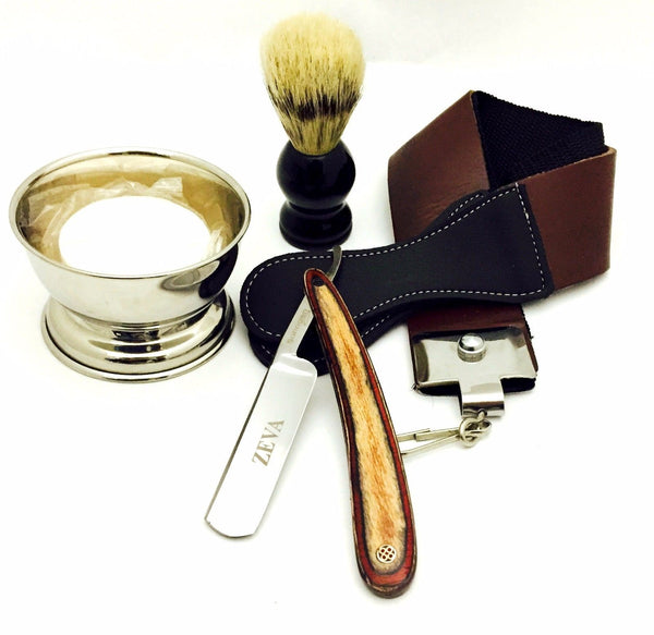 5 Pc Wooden Straight Razor Shaving Gift Set For Christmas With Traveling Bag - Liberty Beauty Supply