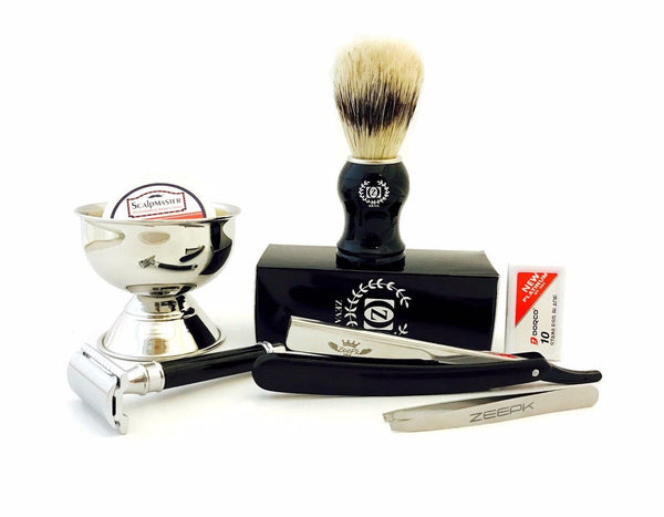 Men's Complete Grooming Kit- De Safety Razor, Straight Razor, Brush, Cup, Blades - Liberty Beauty Supply