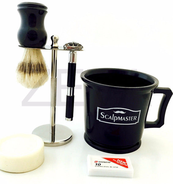 Scalpmaster Shaving Mug Xmas Shaving Gift Set Black Long Handle De Safety Razor, - Liberty Beauty Supply