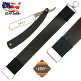 Wet Cut Throat Straight Edge Razor With Cowhide Leather Sharpening Strop 2 Pc - Liberty Beauty Supply