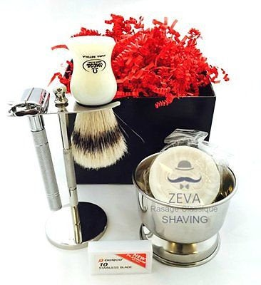 Mens Classic Shaving Kit - Brush Soap Razor Mug - Beard Grooming Travel Set Gift - Liberty Beauty Supply
