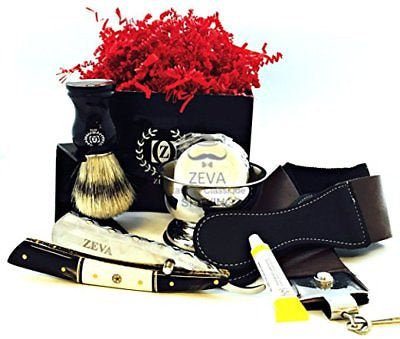 ZEVA Men's Buffalo Horn Camel Bone Straight Razor Shaving Set kit in Gift Box - Liberty Beauty Supply