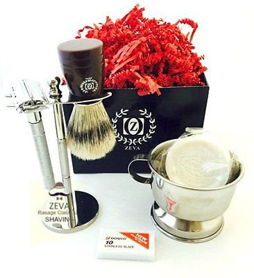 Men Shaving Kit DE Safety Razor Boar Brush Bowl Soap Handmade Hotel Travel Set - Liberty Beauty Supply