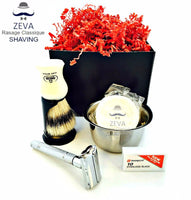 Safety Razor DE Shaving Set ZEVA Omega Dorco Best 5in1 Men Gift idea - Liberty Beauty Supply