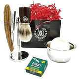 Men Shavette Shaving Gift Set Zeepk Wooden Handle Straight Razor 100 Derby Blade - Liberty Beauty Supply