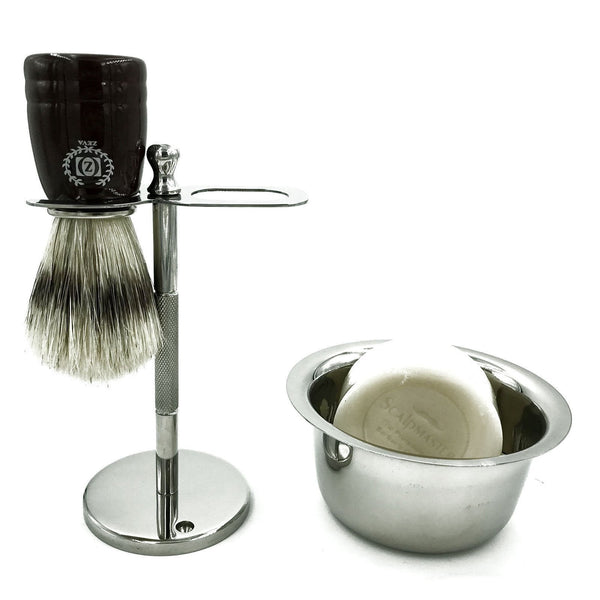 Men Shaving Drip Stand with Badger Brush and Bowl for Soap Straight Razor Zeva - Liberty Beauty Supply