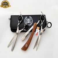Professional Barber Hairdressing Scissors Set WOOD Edition & Razor Kit TIJERAS - Liberty Beauty Supply
