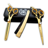 "Gold Professional 6"" Salon Hair Cutting Scissors Thinner Barber Shears Razor Kit - Liberty Beauty Supply"