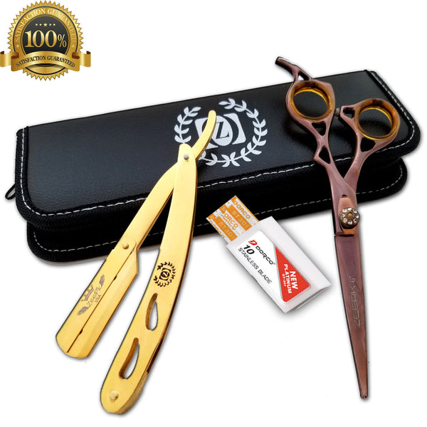 "6"" Professional Hair Cutting Japanese Scissors Thinning Barber Shears Set Kit - Liberty Beauty Supply"
