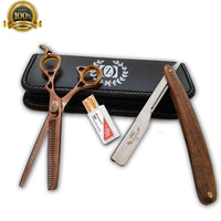"6"" Hair Cutting Shears Barber Scissors Wooden Handle Straight Edge Barber Razor - Liberty Beauty Supply"
