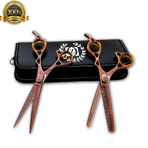 "Professional Hair Cutting Japanese Scissors Barber Stylist Salon Shears 6"" Shear and Thinning Kit - Liberty Beauty Supply"