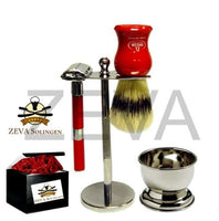 5 Pieces DE Safety Razor Men's Shaving Gift Kit / Set Red - Liberty Beauty Supply