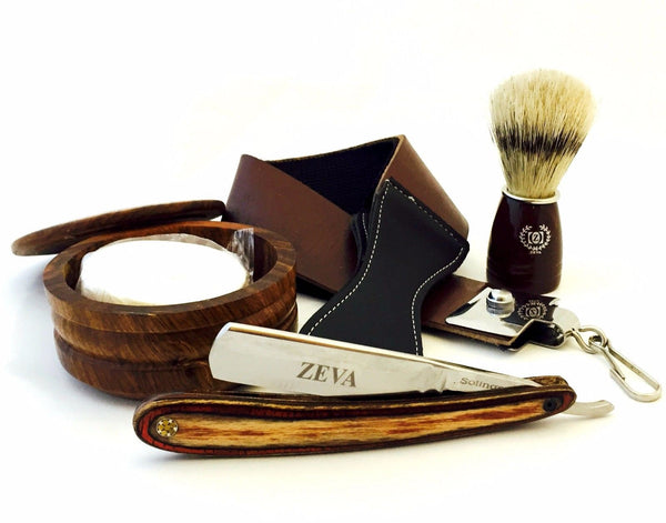 Classic Wooden 5 Pcs Cut Throat Men's Straight Edge Razor Shaving Set/Kit - Liberty Beauty Supply