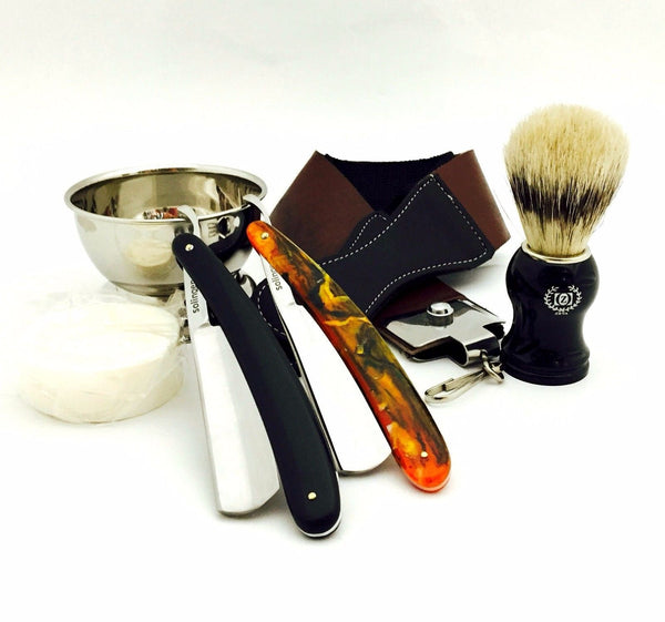 ZEVA 2 Pieces Men's cut throat wet straight razor shaving set kit in gift box - Liberty Beauty Supply