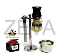 ZEVA 5 Pieces DE Safety Razor Shaving Gift Set / Kit in Box Silver - Liberty Beauty Supply