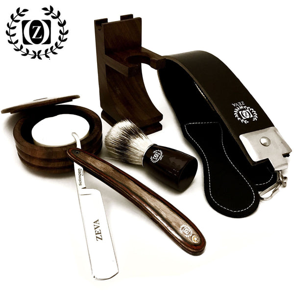 WOOD CUT THROAT 6PC men's straight razor shaving kit luxury gift set - Liberty Beauty Supply