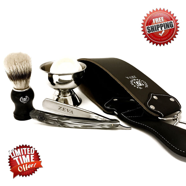 ZEVA 5 Pieces Cut Throat Men's Straight Edge Razor, Brush, Strop Shaving Set/Kit - Liberty Beauty Supply