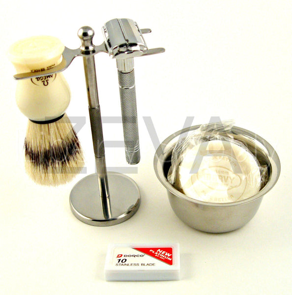 5 Pc Long Handle De Safety Razor Shaving Gift Set For Father's Day/christmas - Liberty Beauty Supply