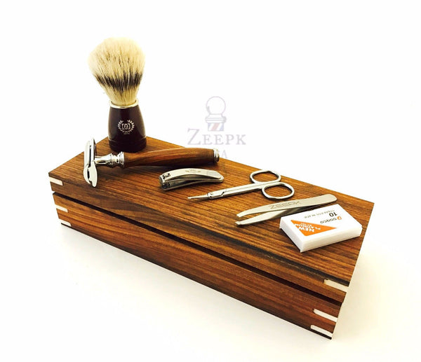 Vintage Wooden 6 Pc Men's Grooming Kit- De Safety Razor, Brush, Scissor, Tweezer - Liberty Beauty Supply