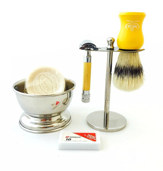 Wet Cut Throat De Safety Razor, Omega Shaving Brush, Soap, Cup, Blades, Gold - Liberty Beauty Supply