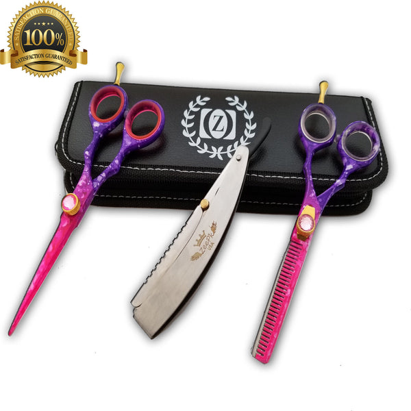 "5.5"" Salon Hair Cutting Scissors TIJERAS Thinning Barber Shears Razor Kit RAPADA - Liberty Beauty Supply"