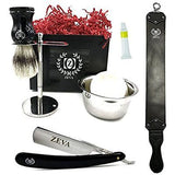 Cut throat Straight Razor Zeva Gift Set for Men Shave Ready Strop Dovo Paste - Liberty Beauty Supply