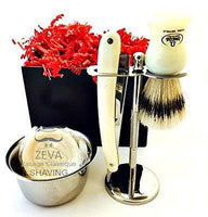 Mens Shaving Set Camel Bone Gift Kit Clean Brush Stand Soap Bowl Barber Navaja - Liberty Beauty Supply