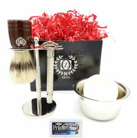 Badger Shaving Brush ZEVA Men Shaving Set Wooden Handle DE Safety Razor Mens Kit - Liberty Beauty Supply