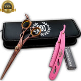 "New Professional Barber Hairdressing Scissors Set BRONZE Edition & Razor Kit 6"" - Liberty Beauty Supply"