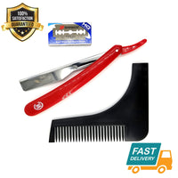 close shave steel barber straight cut throat razor shavette + beard shaper - Liberty Beauty Supply
