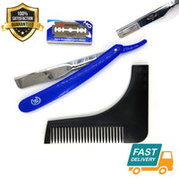 blue wet shaving steel barber straight cut throat razor shavette + beard shaper - Liberty Beauty Supply