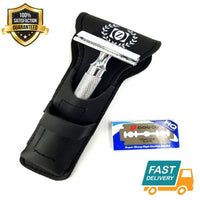 Safety Razor Double Edge Stainless Steel Razors + 10 Free Blades Barber Use - Liberty Beauty Supply