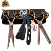 "New Student Cutting and Thinning shears Set 6"" Japanese Steel with Razor Tijeras - Liberty Beauty Supply"